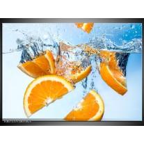 Glas Schilderij Sinaasappel, Keuken | Geel, Blauw