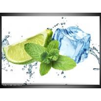 Glas Schilderij Munt, Keuken | Groen, Geel, Blauw