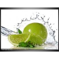 Glas Schilderij Fruit, Keuken | Groen, Wit, Zilver