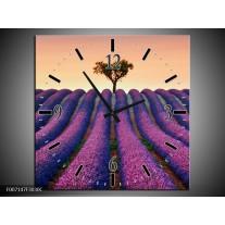 Wandklok Schilderij Lavendel, Landelijk   Paars, Crème