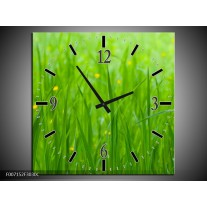 Wandklok Schilderij Natuur, Gras | Zwart, Groen