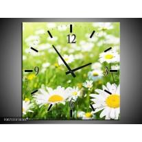 Wandklok Schilderij Madeliefje, Bloemen | Groen, Wit, Geel