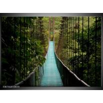 Canvas Schilderij Natuur, Brug | Groen, Blauw, Zwart