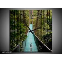 Wandklok Schilderij Natuur, Brug | Groen, Blauw, Zwart