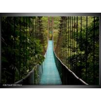 Glas Schilderij Natuur, Brug | Groen, Blauw, Zwart