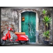 Canvas Schilderij Scooter, Motor   Groen, Rood, Grijs