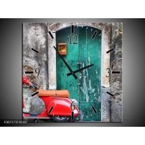 Wandklok Schilderij Scooter, Motor | Groen, Rood, Grijs