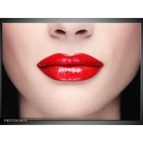 Canvas Schilderij Vrouw, Lippen | Rood, Crème