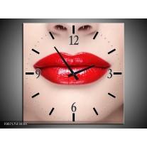 Wandklok Schilderij Vrouw, Lippen | Rood, Crème