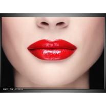 Glas Schilderij Vrouw, Lippen | Rood, Crème