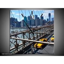 Wandklok Schilderij Brug, New York | Grijs, Blauw, Geel