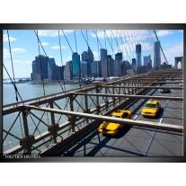 Glas Schilderij Brug, New York | Grijs, Blauw, Geel