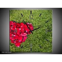 Wandklok Schilderij Bloem, Gras | Rood, Groen, Roze