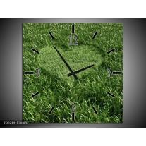 Wandklok Schilderij Gras, Hart | Groen