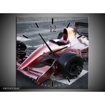 Wandklok Schilderij Auto, Formule 1 | Grijs, Roze, Rood