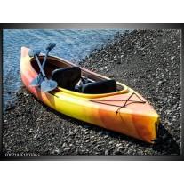 Glas Schilderij Kayak, Sport | Geel, Oranje, Grijs