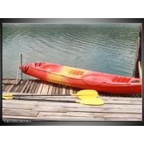 Glas Schilderij Boot, Water | Geel, Oranje, Grijs