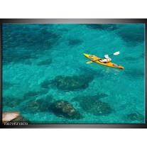 Canvas Schilderij Boot, Sport | Turquoise, Geel, Groen