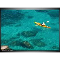 Glas Schilderij Kayak, Sport | Turquoise, Geel, Groen