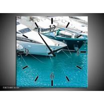 Wandklok Schilderij Boot, Water | Wit, Turquoise