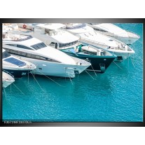 Glas Schilderij Boot, Water | Wit, Turquoise