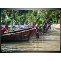 Canvas Schilderij Boot, Natuur | Groen, Bruin, Grijs