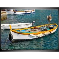 Glas Schilderij Boot, Water | Grijs, Geel, Wit