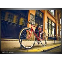 Glas Schilderij Fiets, Straat | Bruin, Rood, Geel