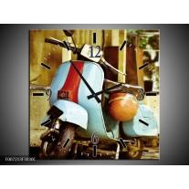 Wandklok Schilderij Scooter, Motor | Bruin, Geel, Blauw