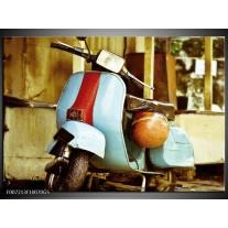 Glas Schilderij Scooter, Motor | Bruin, Geel, Blauw