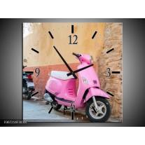 Wandklok Schilderij Scooter, Motor | Bruin, Roze, Crème
