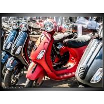 Glas Schilderij Scooter, Motor | Rood, Grijs