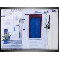 Glas Schilderij Griekenland | Wit, Blauw