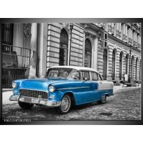Glas Schilderij Oldtimer, Auto | Grijs, Blauw, Zwart