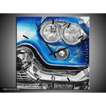 Wandklok Schilderij Oldtimer, Auto   Grijs, Blauw, Zilver