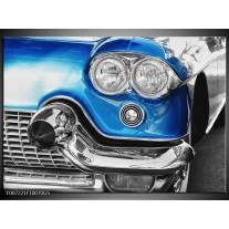 Glas Schilderij Oldtimer, Auto | Grijs, Blauw, Zilver