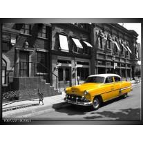 Glas Schilderij Oldtimer, Auto | Zwart, Wit, Geel