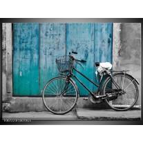 Glas Schilderij Fiets | Turquoise, Grijs