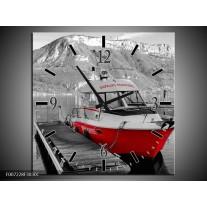 Wandklok Schilderij Boot, Bergen | Zwart, Wit, Rood