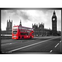 Canvas Schilderij Engeland, London   Zwart, Wit, Rood