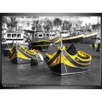 Canvas Schilderij Boot, Water | Zwart, Wit, Geel