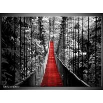 Canvas Schilderij Brug, Natuur | Zwart, Wit, Rood