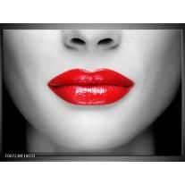 Canvas Schilderij Lippen, Vrouw | Grijs, Rood