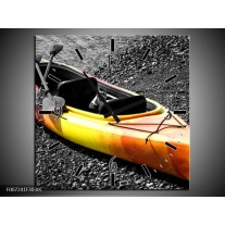 Wandklok Schilderij Kayak, Sport | Grijs, Geel, Oranje