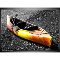 Glas Schilderij Kayak, Sport | Grijs, Geel, Oranje
