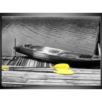 Glas Schilderij Boot, Water | Zwart, Wit, Geel