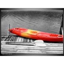 Canvas Schilderij Boot, Water | Zwart, Wit, Rood