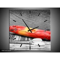 Wandklok Schilderij Boot, Water | Zwart, Wit, Rood