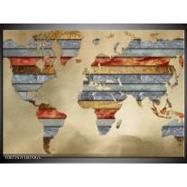 Glas Schilderij Wereldkaart | Grijs, Crème, Bruin