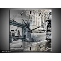 Wandklok Schilderij England, London | Grijs, Crème